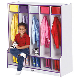 Kids Laminated Seated Coat Lockers with Colored Edge