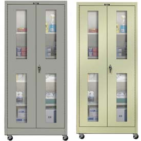 Hallowell Safety-View Door Mobile Storage Cabinets