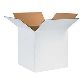 "White Cardboard Corrugated Box 12"" x 12"" x 6"" 200lb. Test/ECT-32 - 25 Pack"