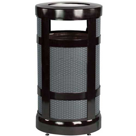 "Combo Sand Top Urn And Trash Receptacle, Black, 17 gal. capacity, 18"" Dia x 34""H"