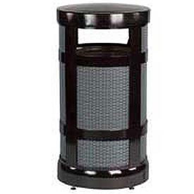 "Radius Top Trash Receptacle, Black, 17 gallon capacity, 18"" Dia x 34""H."