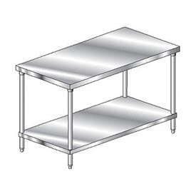 "Aero Manufacturing 1TS-24120 120""W x 24""D Flat Top Stainless Steel Workbench w/ Undershelf"