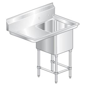 "One Bowl Aerospec SS NSF Sink with 36""W Left Drainboard - 20""Wx20""D"