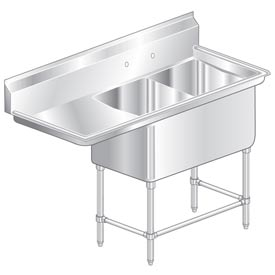 "Two Bowl Aerospec SS NSF Sink with 18""W Left Drainboard - 16""Wx21""D"