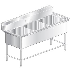 "Aero 2F3-2424  Aerospec Three Compartment NSF Sink - 24""Wx24""D"