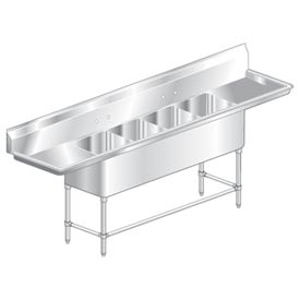 "Four Bowl Aerospec SS NSF Sink with two 18'W Drainboards - 24""Wx24""D"