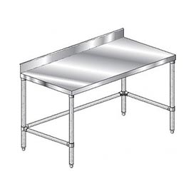 "Aero Manufacturing 2TGBX-24132 132""W x 24""D Stainless Steel Workbench 4"" Backsplash Galv."