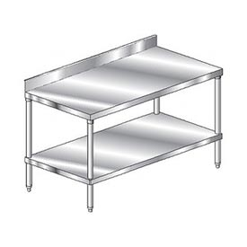 "Aero Manufacturing 2TSB-2484 84""W x 24""D Stainless Steel Workbench 4"" Backsplash SS Undershelf"