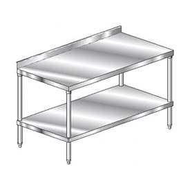 "Aero Manufacturing 2TSS-24120 120""W x 24""D Stainless Steel Workbench, 2-3/4"" Backsplash, SS Shelf"