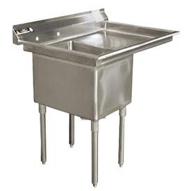 "One Bowl Deluxe SS NSF Sink with 30""W Right Drainboard - 24""Wx24""D"