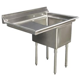 "One Bowl Deluxe SS NSF Sink with 20""W Left Drainboard - 20""Wx30""D"