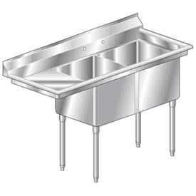 "Two Bowl Deluxe SS NSF Sink with 36""W Left Drainboard - 24""Wx24""D"
