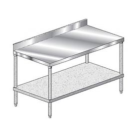 "Aero Manufacturing 3TGB-24120 120""W x 24""D Stainless Steel Workbench 4"" Backsplash"