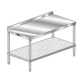 "Aero Manufacturing 4TGS-30132 132"" W x 30""D Stainless Steel Workbench, 2-3/4"" Backsplash & Shelf"