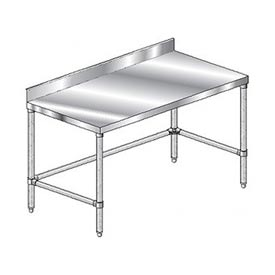 "Aero Manufacturing 4TSBX-3696 96""W x 36""D Stainless Steel Workbench 4"" Backsplash and Crossbracing"