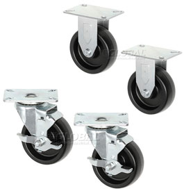 "Americraft Set of (4) 4"" Plate Casters 2 With Brake for Man Coolers CAS-1"