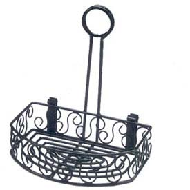 "American Metalcraft CRS68 - Condiment Caddy, 6-1/4 x 8-1/4 x 9""H, Scroll Design, Black Wrought Iron"
