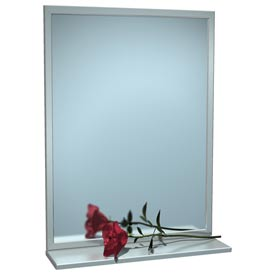 "ASI® Stainless Steel Angle Frame Mirror with Shelf - 18""Wx36""H - 0605-1836"