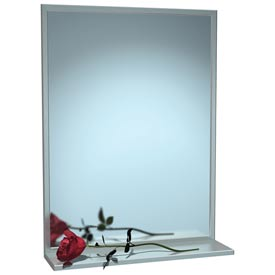 "ASI® Stainless Steel Channel Frame Mirror with Shelf - 24""Wx36""H - 0625-2436"