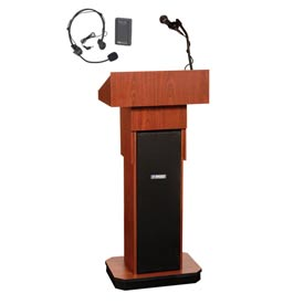 Wireless Executive Adjustable Height Podium / Lectern - Mahogany