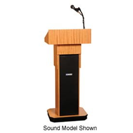 Executive Adjustable non-sound Column Podium / Lectern - Light Oak