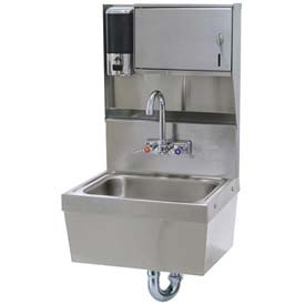 Soap & Towel Dispenser Hand Sink Unit With Stainless Steel Skirt , 10x14x5 Bowl