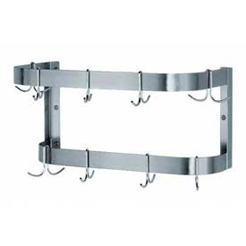 "Advance Tabco SW-24 24""W x 12""D Pot Rack, Wall-Mounted Double Bar w/ 12 Plated Double Hooks"