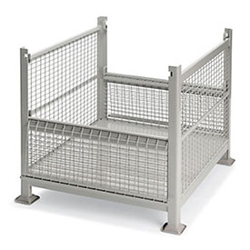 """Stackable Wire Containers - Rigid - 40-1/2""""Wx34-1/2""""Lx32""""H - Grey"""