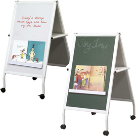 Balt® White Magnetic Instructional Chalk and Marker Mobile Easel