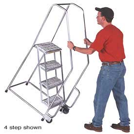 "3 Step 18""W Aluminum Tilt and Roll Ladder - Heavy Duty Serrated Grating"