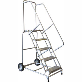 "9 Step 24""W Aluminum Wheelbarrow Ladder - Heavy Duty Serrated Grating"