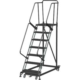 7 Step Extra Heavy Duty Steel Rolling Safety Ladder - Heavy Duty Serrated Grating