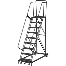 9 Step Extra Heavy Duty Steel Rolling Safety Ladder - Heavy Duty Serrated Grating