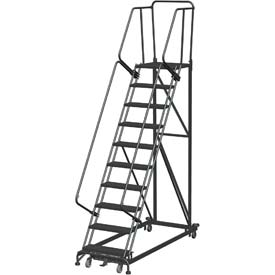 10 Step Extra Heavy Duty Steel Rolling Safety Ladder - Heavy Duty Serrated Grating
