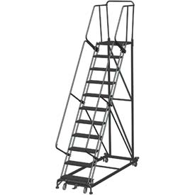 11 Step Extra Heavy Duty Steel Rolling Safety Ladder - Perforated Tread
