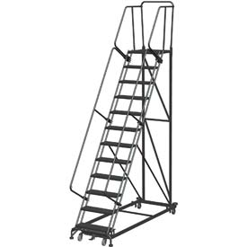 12 Step Extra Heavy Duty Steel Rolling Safety Ladder - Heavy Duty Serrated Grating
