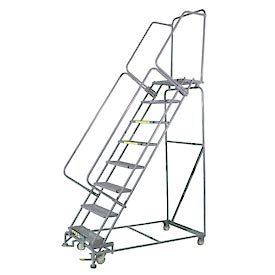 "8 Step 24""Wx64""D Stainless Steel Rolling Safety Ladder - Perforated Tread"