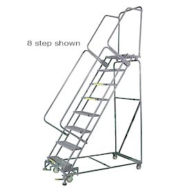 """10 Step 24""""Wx83""""D Stainless Steel Rolling Safety Ladder - Serrated Grating"""