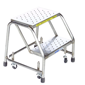 "2 Step 16""W Stainless Steel Rolling Ladder W/O Rails - Heavy Duty Serrated Grating"