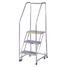 "3 Step 24""W Stainless Steel Rolling Ladder W/ Rails - Perforated Tread"