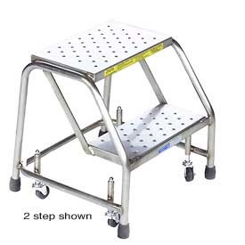 "3 Step 16""W Stainless Steel Rolling Ladder W/O Rails - Heavy Duty Serrated Grating"