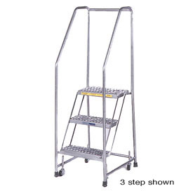 """7 Step 24""""W Stainless Steel Rolling Ladder W/ Rails - Heavy Duty Serrated Grating"""