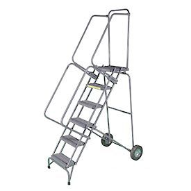 "6 Step 16""W Stainless Steel Fold and Store Rolling Ladder - Heavy Duty Serrated Grating"
