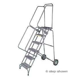 "8 Step 16""W Stainless Steel Fold and Store Rolling Ladder - Heavy Duty Serrated Grating"