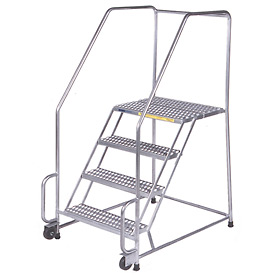 "4 Step 24""W Stainless Steel Tilt and Roll Ladder - Heavy Duty Serrated Grating"