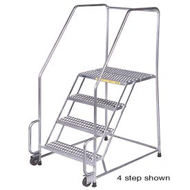 "6 Step 16""W Stainless Steel Tilt and Roll Ladder - Heavy Duty Serrated Grating"