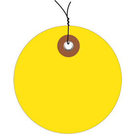 """Pre-Wired Plastic Circle Tags 3"""" Diamter Yellow - 100 Pack"""