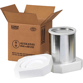 "Four - 1 Quart Foam Haz Mat Shipper Kit, 10-1/4"" x 10-1/4"" x 6-3/16"""