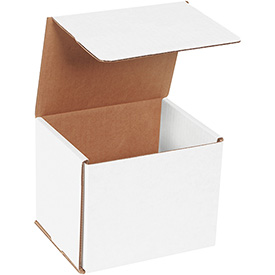 "White Corrugated Mailer 6"" x 5"" x 5"" - 50 Pack"