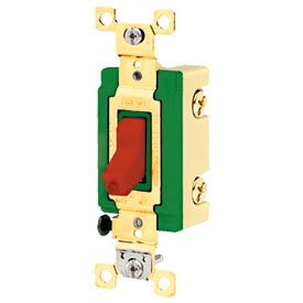Bryant 3002PLR277 Industrial Grade Toggle Switch, 30A, 277V AC, Double Pole, Pilot Red